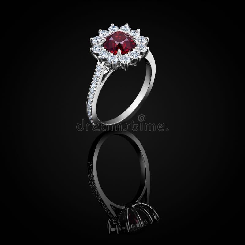 Anello di diamante con la pietra preziosa scintillante vermiglia rossa di lusso isolata su fondo nero con la riflessione immagini stock