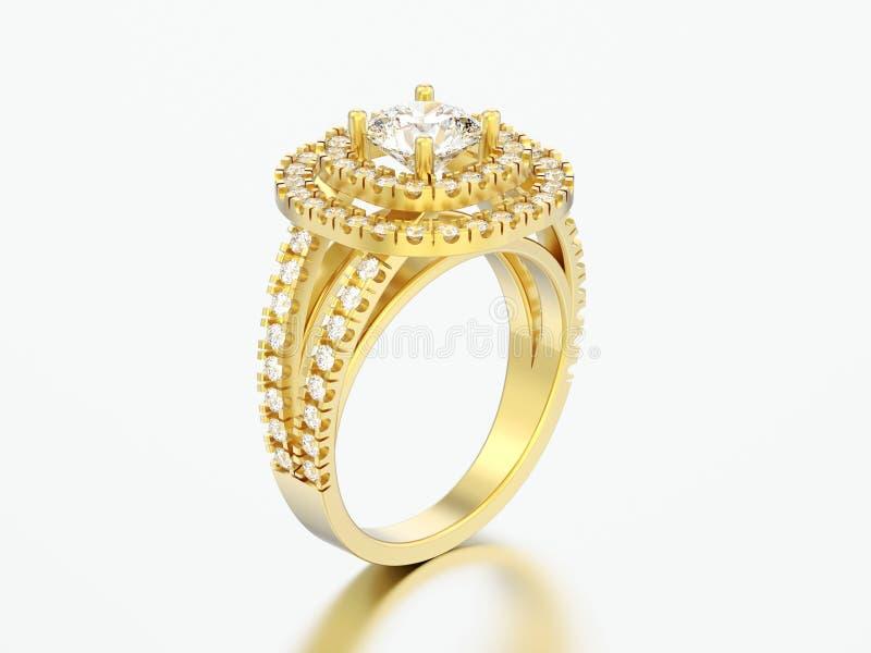 anello di diamante decorativo del solitario elegante dell'oro dell'illustrazione 3D illustrazione di stock