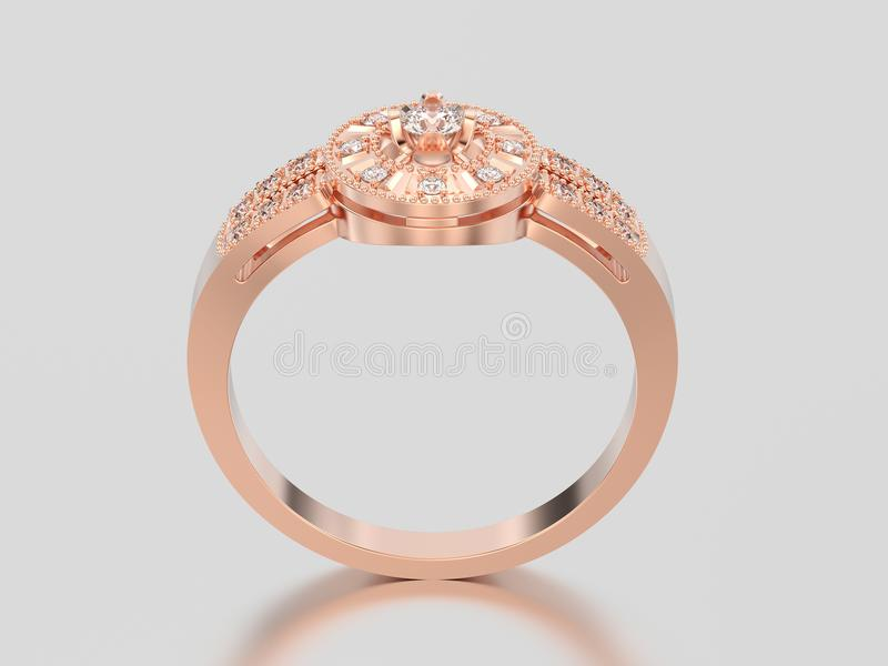 anello di diamante decorativo isolato illustrazione dell'oro rosa 3D fotografia stock libera da diritti