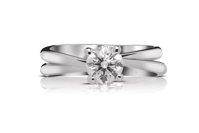 Anello di diamante del solitario immagine stock