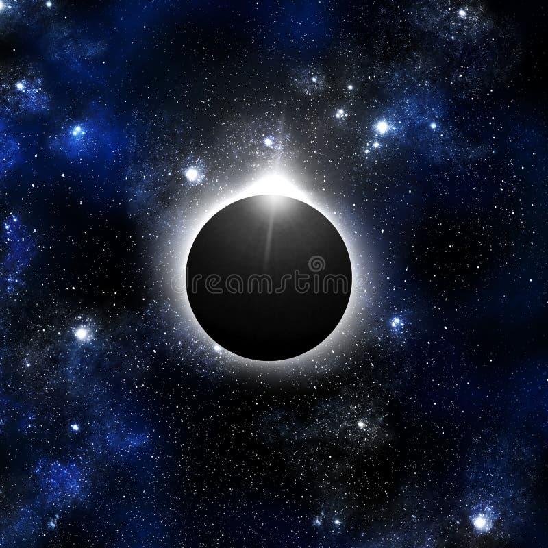 Anello di diamante dell'eclipse solare con il backgroun del Orion illustrazione vettoriale