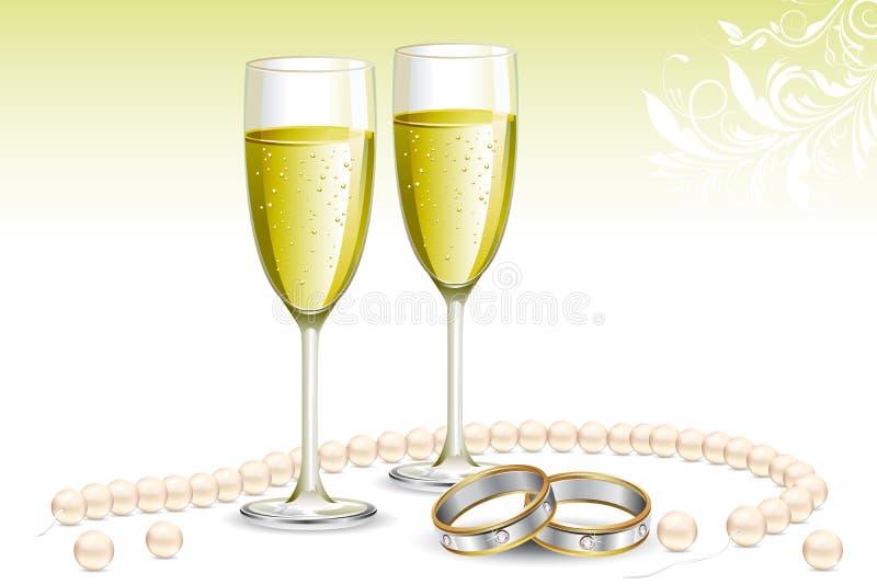 Anello di fidanzamento con il vetro di Champagne illustrazione di stock