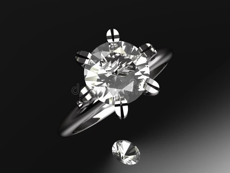 Anello di fidanzamento del Solitaire del platino del diamante illustrazione di stock