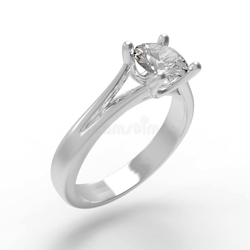 Anello di fidanzamento del solitario del diamante fotografia stock