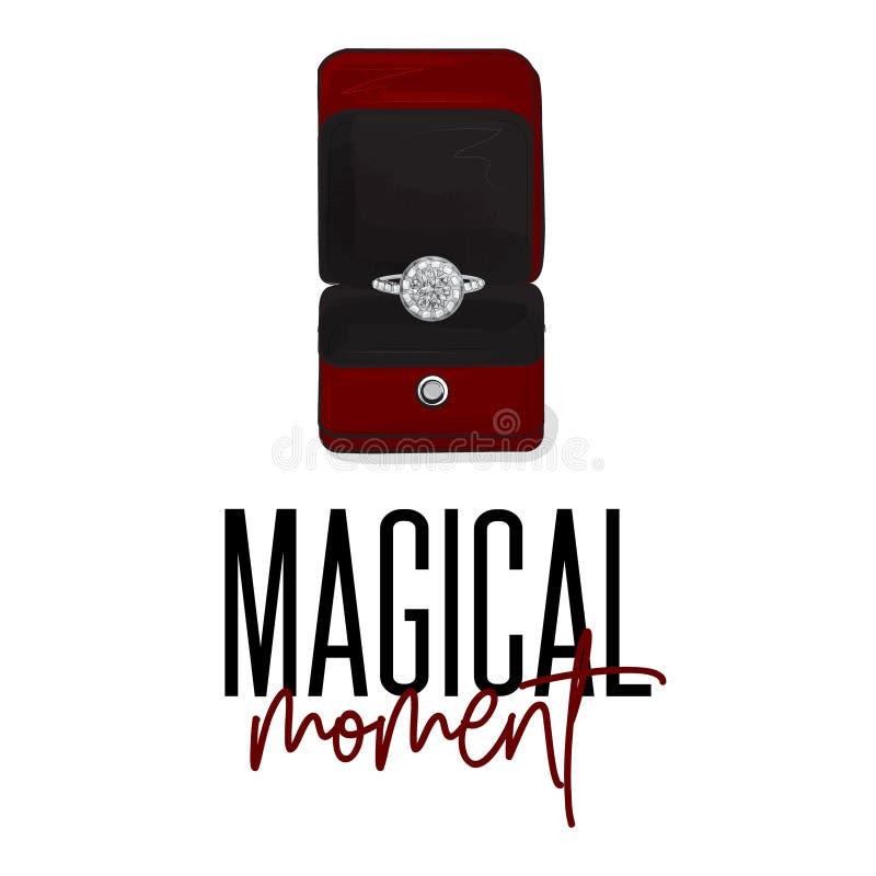 Anello di fidanzamento di lusso del segno romantico con i diamanti Jewerly illustrazione brillante Le nozze firmano dentro il vet illustrazione di stock