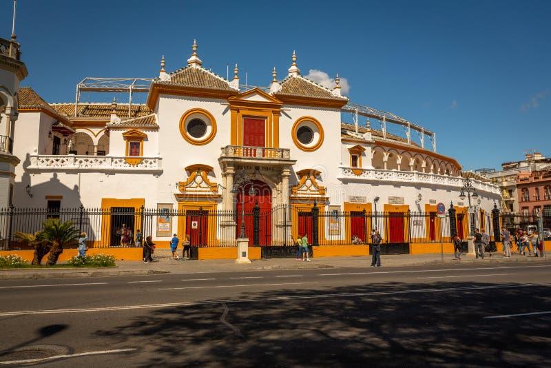 Anello di lotta di toro in Siviglia, Spagna fotografie stock libere da diritti
