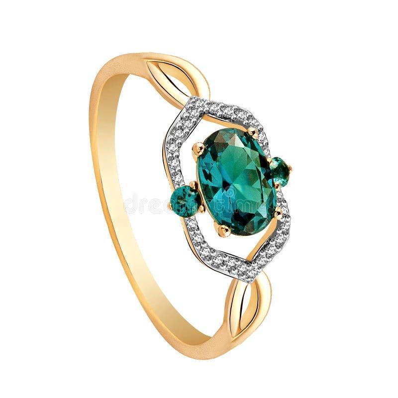Anello di oro con i diamanti e gli smeraldi su fondo bianco illustrazione vettoriale