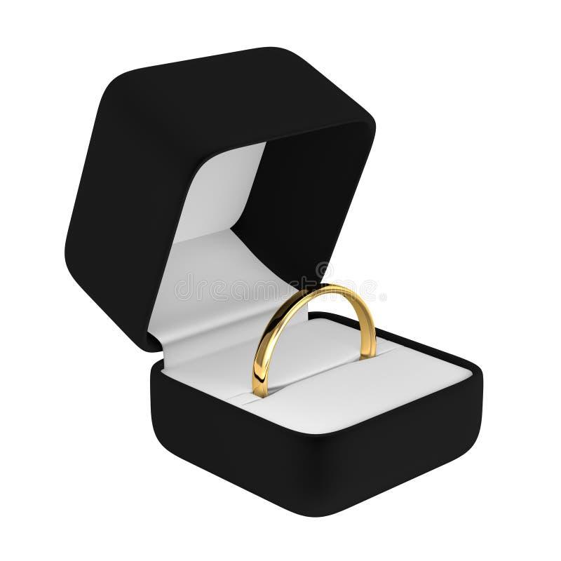 Anello di oro con la scatola nera illustrazione di stock
