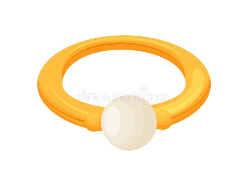 Anello di oro con una perla Illustrazione di vettore su priorit? bassa bianca royalty illustrazione gratis
