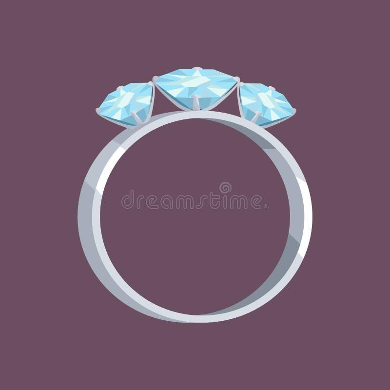 Anello di oro d'argento o bianco con tre pietre blu illustrazione di stock