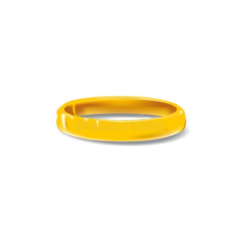 Anello di oro orizzontale con ombra fotografia stock libera da diritti