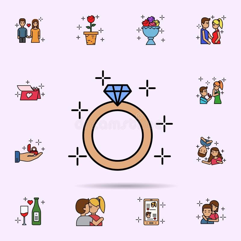 anello, diamante, impegno, icona di matrimonio Insieme universale della storia di amore per progettazione del sito Web e sviluppo illustrazione di stock