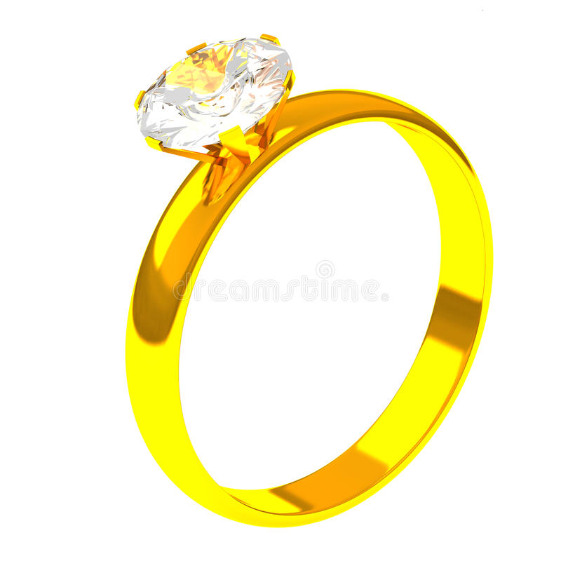 Anello dorato con il diamante, 3d illustrazione di stock