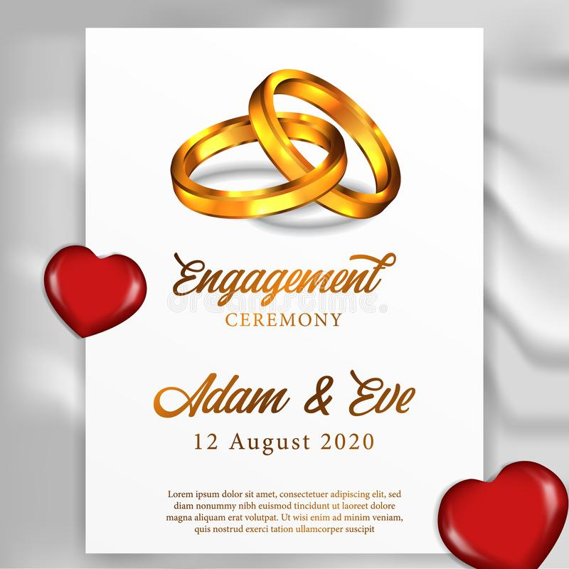 anello dorato delle coppie 3D per l'invito del partito di cerimonia di impegno del modello del manifesto royalty illustrazione gratis