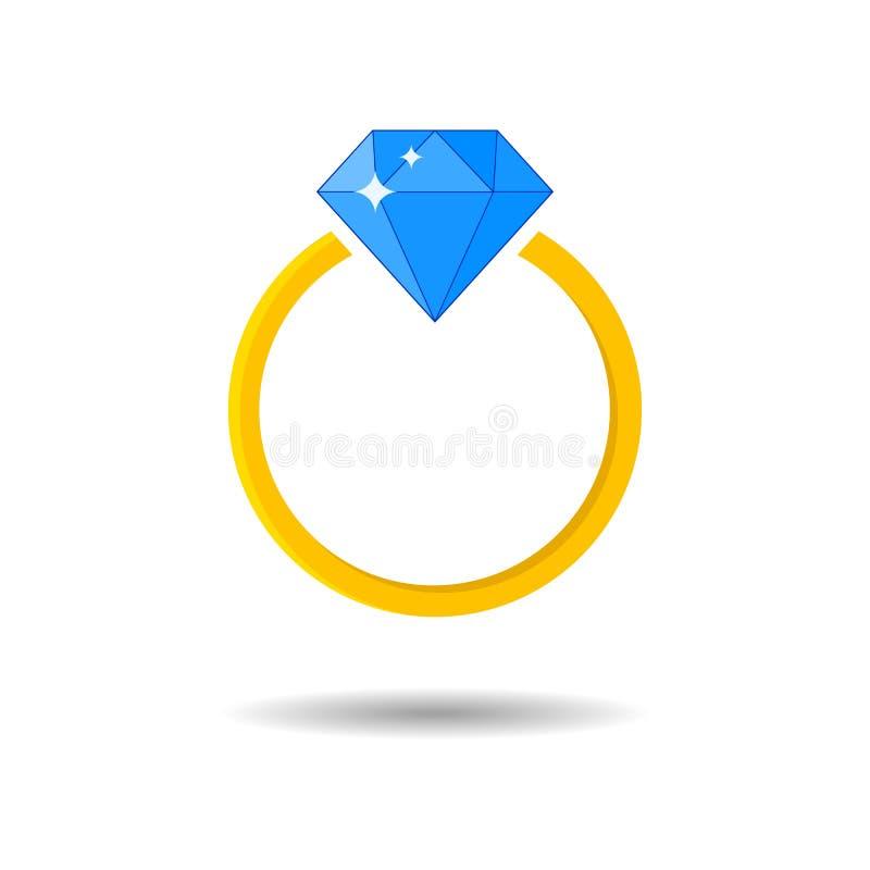 Anello dorato ingioiellato brillante Impegno e fede nuziale del diamante illustrazione di stock