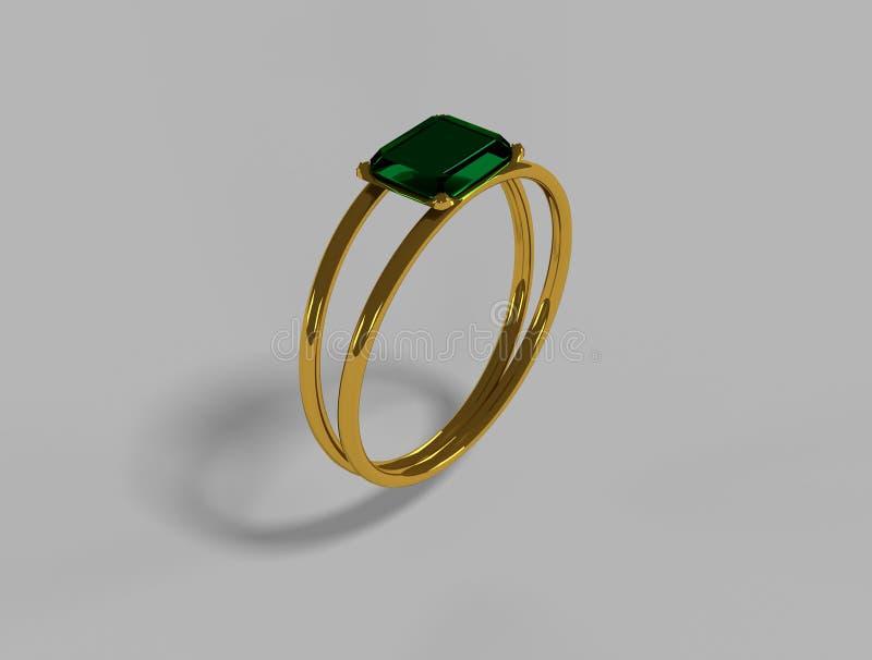 Anello dorato verde smeraldo verde fotografia stock