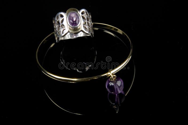 Anello e braccialetto Amethyst immagini stock