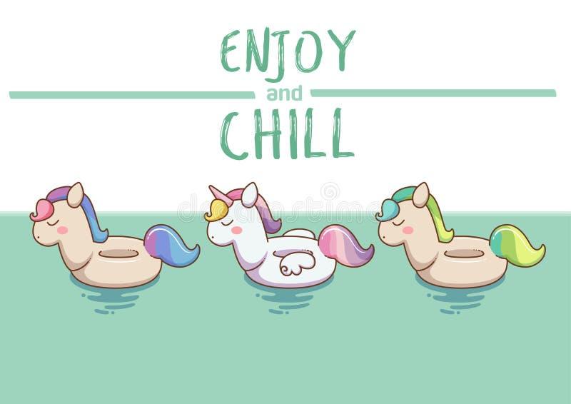 Anello gonfiabile di nuotata dell'unicorno isolato su acqua royalty illustrazione gratis
