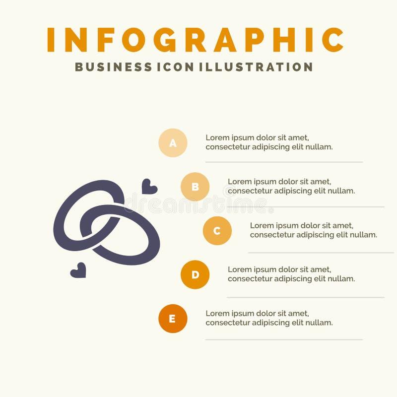 Anello, impegno, fede nuziale, anello di fidanzamento, fondo solido di presentazione di punti di Infographics 5 dell'icona di amo illustrazione di stock