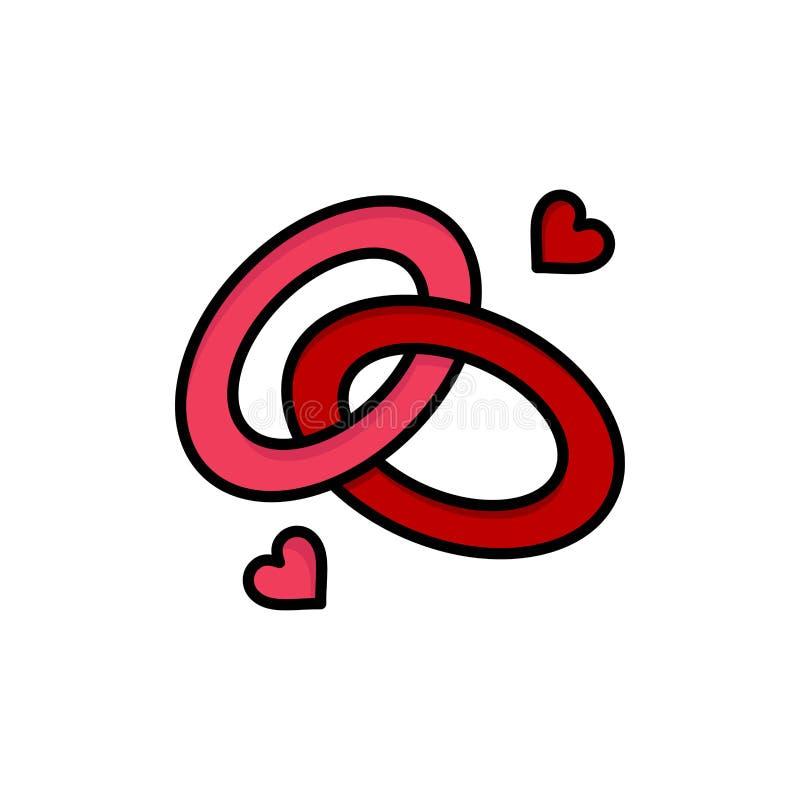 Anello, impegno, fede nuziale, anello di fidanzamento, icona piana di colore di amore Modello dell'insegna dell'icona di vettore illustrazione di stock
