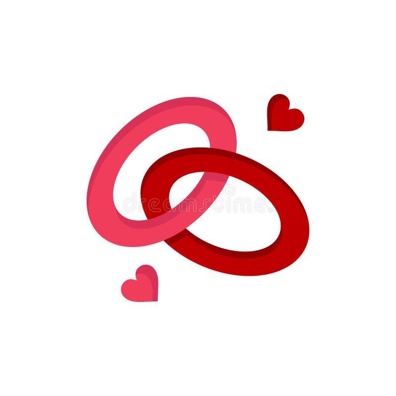 Anello, impegno, fede nuziale, anello di fidanzamento, icona piana di colore di amore Modello dell'insegna dell'icona di vettore royalty illustrazione gratis