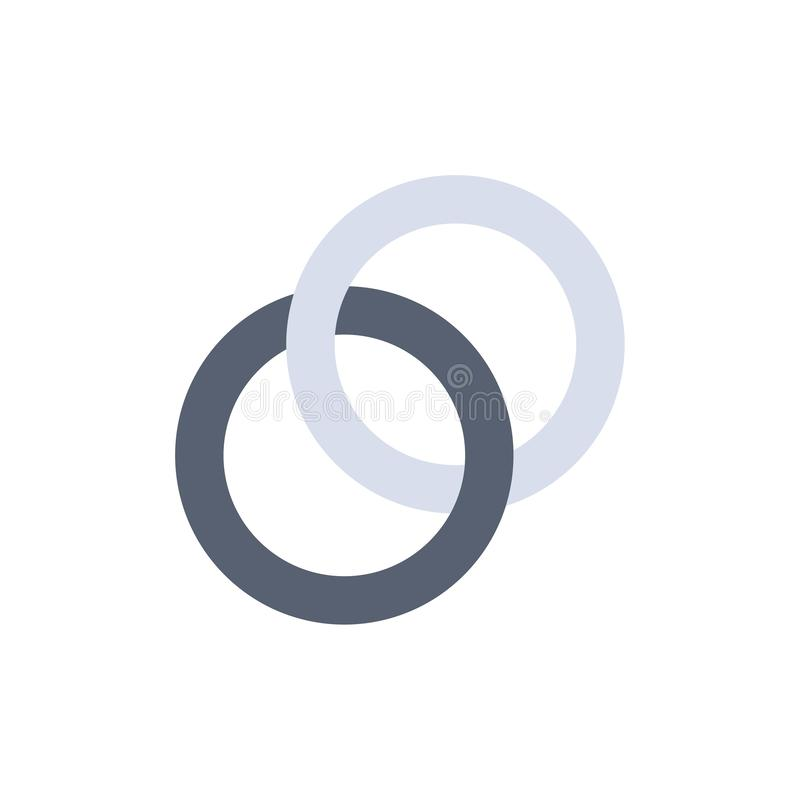 Anello, nozze, coppia, icona piana di colore di impegno Modello dell'insegna dell'icona di vettore illustrazione di stock