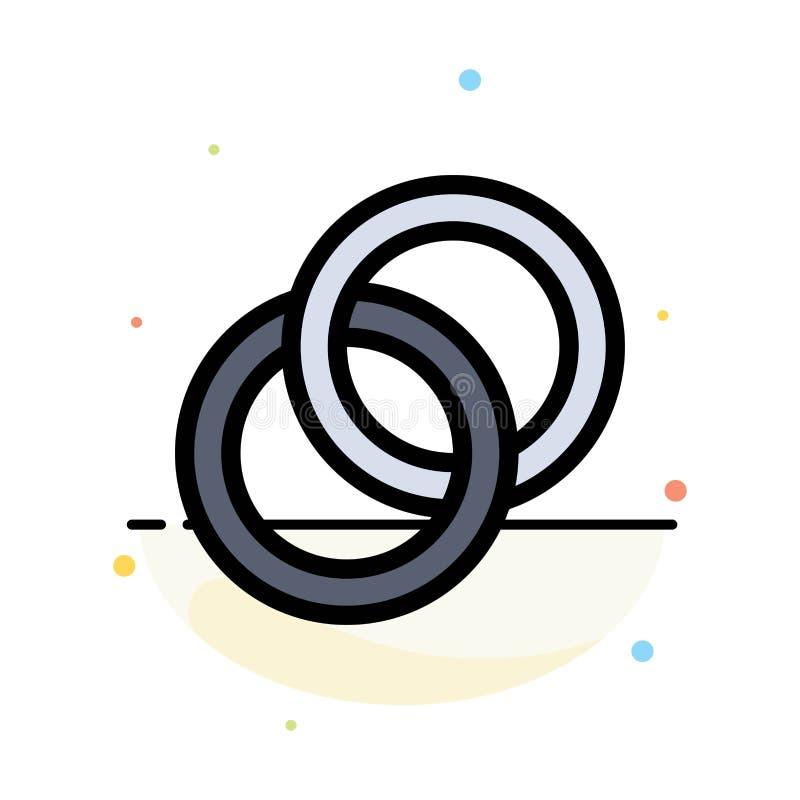 Anello, nozze, coppia, modello piano dell'icona di colore dell'estratto di impegno illustrazione di stock