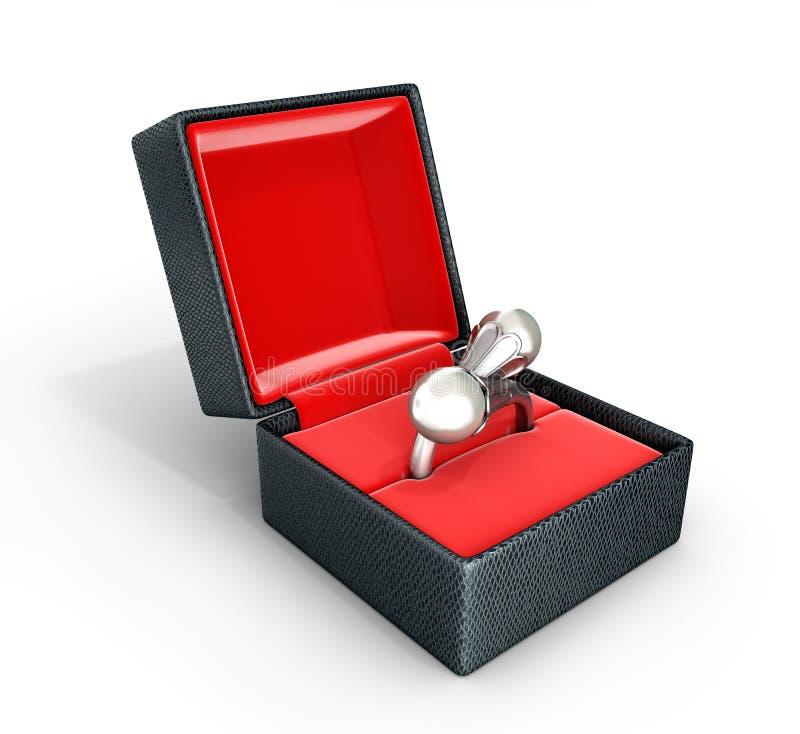 Anello o orecchini d'argento con la perla in un contenitore di regalo sull'illustrazione bianca del fondo 3d illustrazione vettoriale