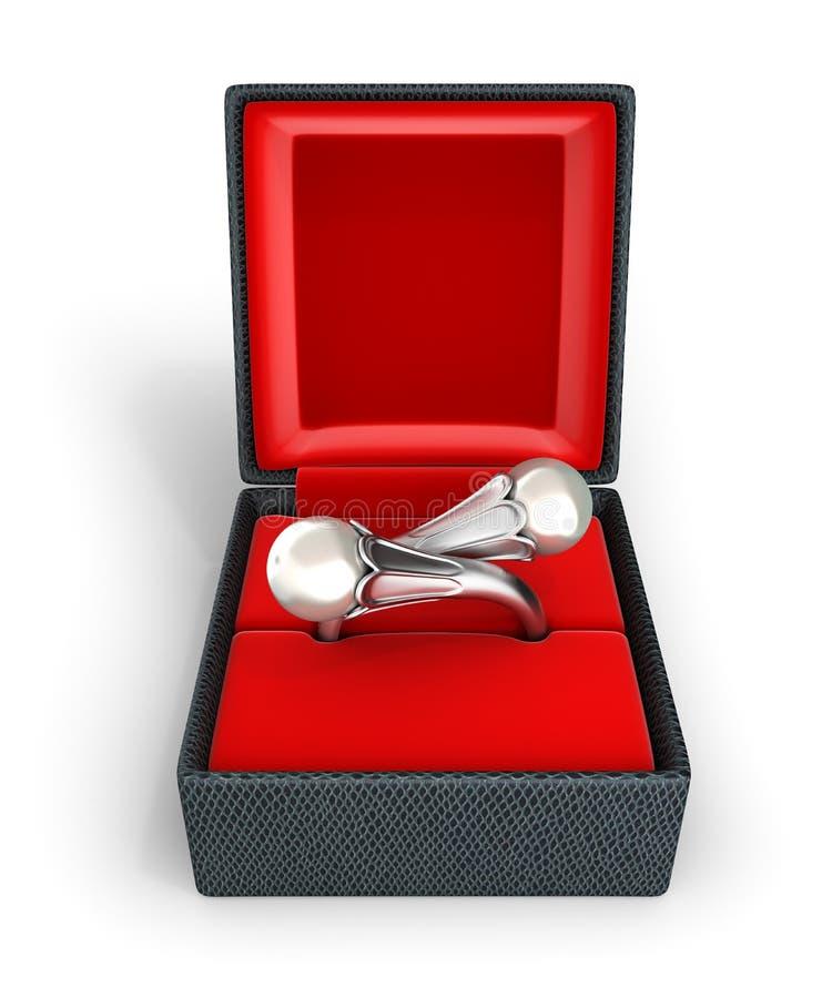 Anello o orecchini d'argento con la perla in un contenitore di regalo sull'illustrazione bianca del fondo 3d royalty illustrazione gratis
