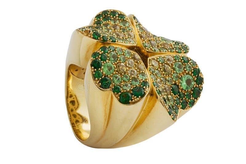 Anello verde smeraldo immagine stock