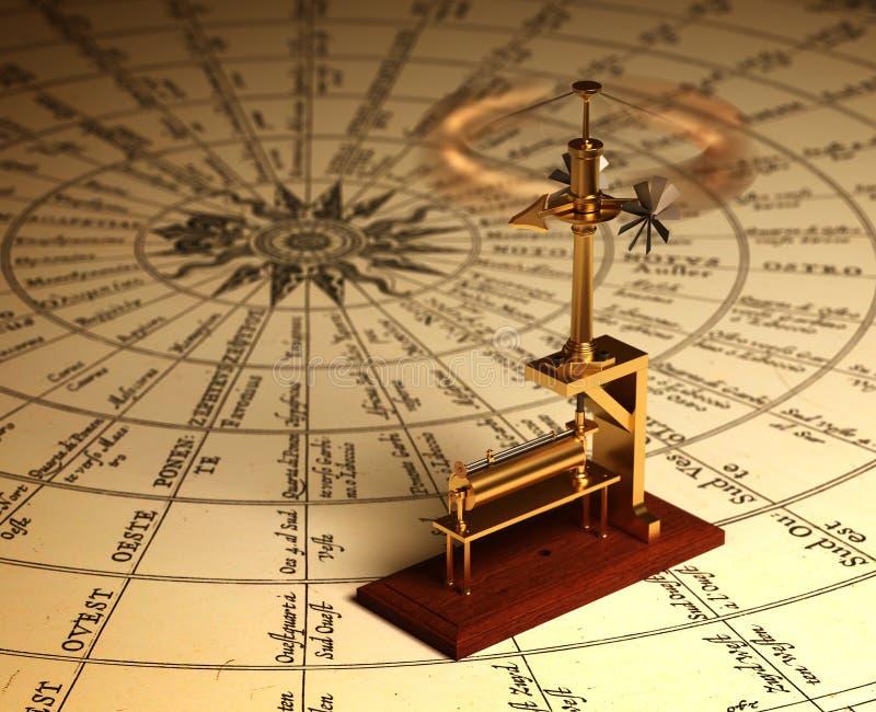 Anemômetro de giro no mapa dos ventos ilustração stock