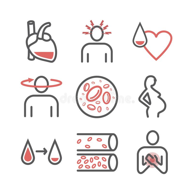 Anemia symptoms icons set. Medical and healtcare concept. Editable vector illustration in modern style. Anemia symptoms icons. Medical and healtcare concept stock illustration