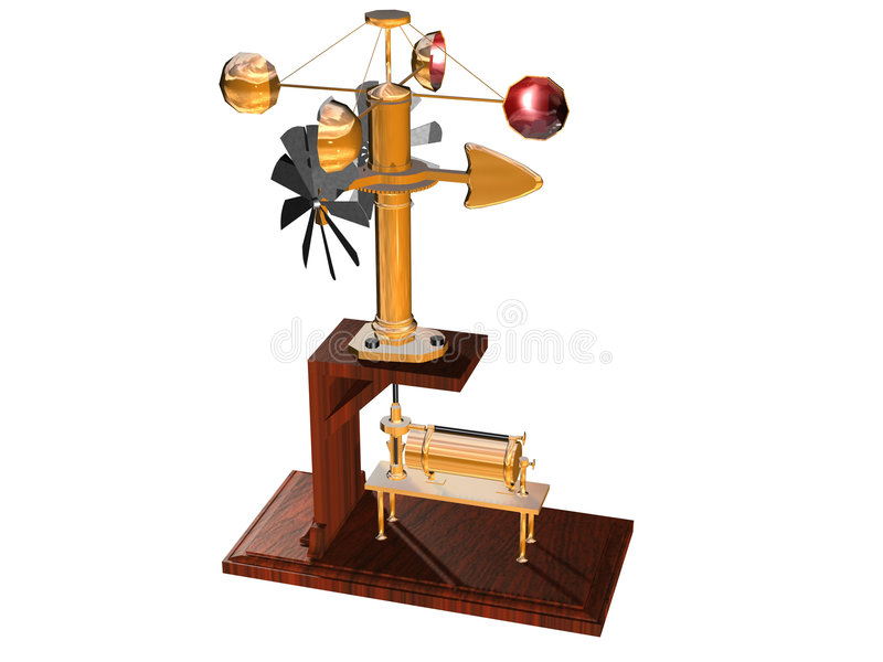 Anemometer. Computer image, anemometer 3D, isolated white background royalty free illustration