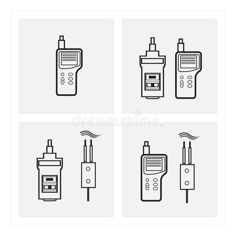 Anemometer black icon sets. Climate, weather, climate, lakes, chasing ghosts, formula, speed, speed royalty free illustration