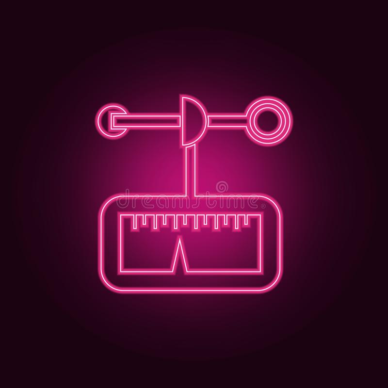 Anemometer icon. Elements of measuring elements in neon style icons. Simple icon for websites, web design, mobile app, info. Graphics on dark gradient royalty free illustration