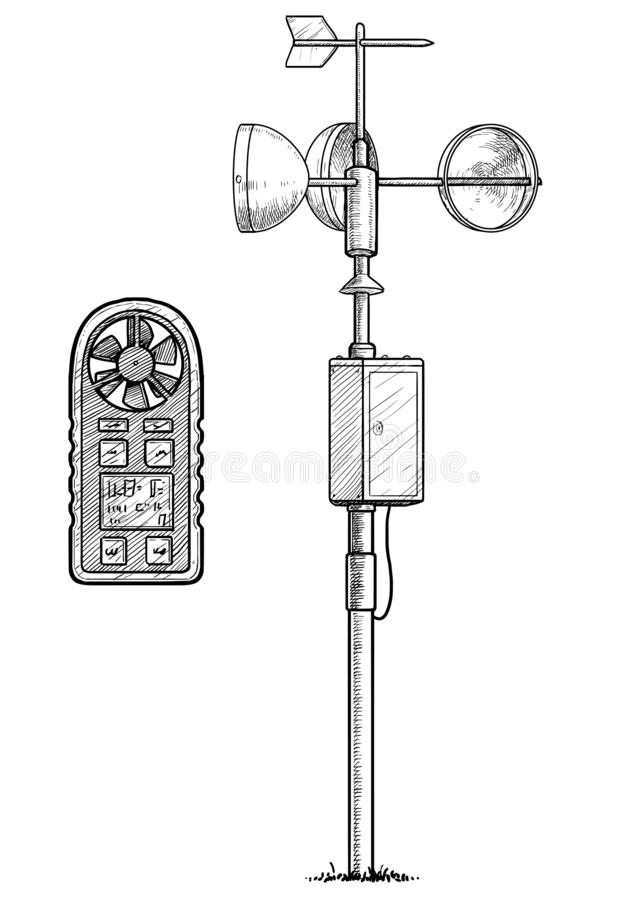 Anemometer illustration, drawing, engraving, ink, line art, vector. Illustration, what made by ink and pencil on paper, then it was digitalized stock illustration