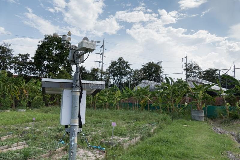 anemometer & meterological weather station for monitoring wind s royalty free stock photos