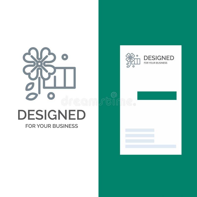 Anemone, λουλούδι, γκρίζο σχέδιο λογότυπων λουλουδιών ανοίξεων και πρότυπο επαγγελματικών καρτών ελεύθερη απεικόνιση δικαιώματος