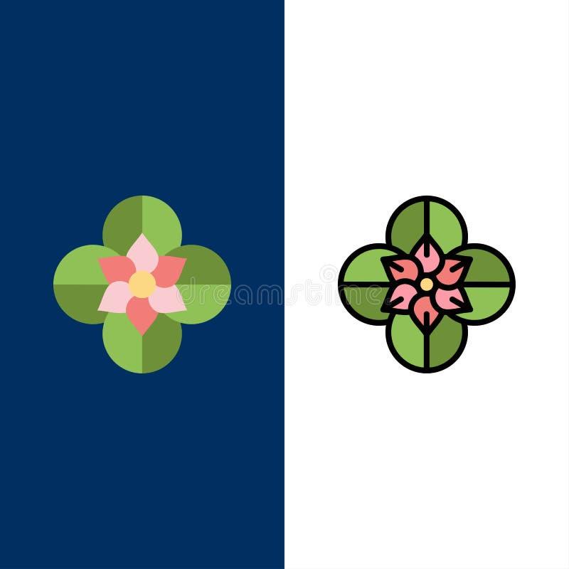 Anemone, λουλούδι Anemone, λουλούδι, εικονίδια λουλουδιών ανοίξεων Επίπεδος και γραμμή γέμισε το καθορισμένο διανυσματικό μπλε υπ ελεύθερη απεικόνιση δικαιώματος