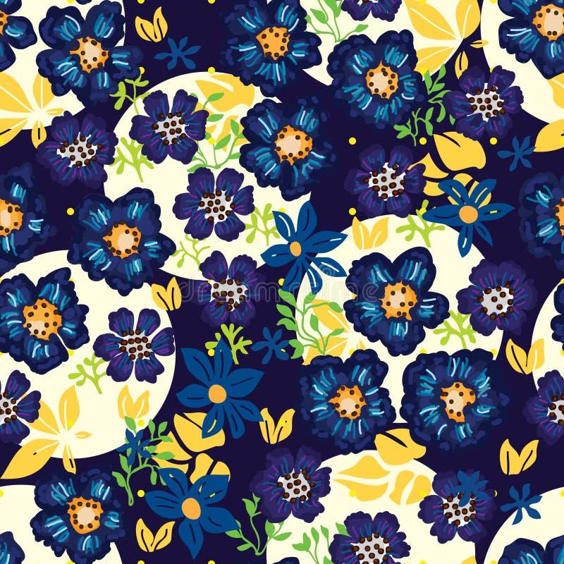Free Anemone Blue Flower Dark Seamless Pattern Stock Photography - 91461702