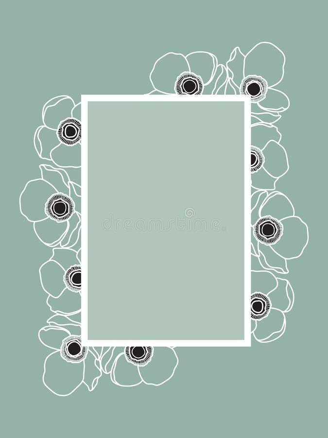 Anemone Flower Wedding Frame Design Siimplicity en Elegantie vector illustratie