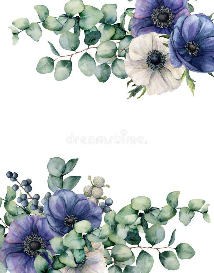 Anemone Watercolor και floral κάρτα ευκαλύπτων Το χέρι χρωμάτισε τα μπλε και άσπρα λουλούδια, φύλλα ευκαλύπτων που απομονώθηκαν σ απεικόνιση αποθεμάτων