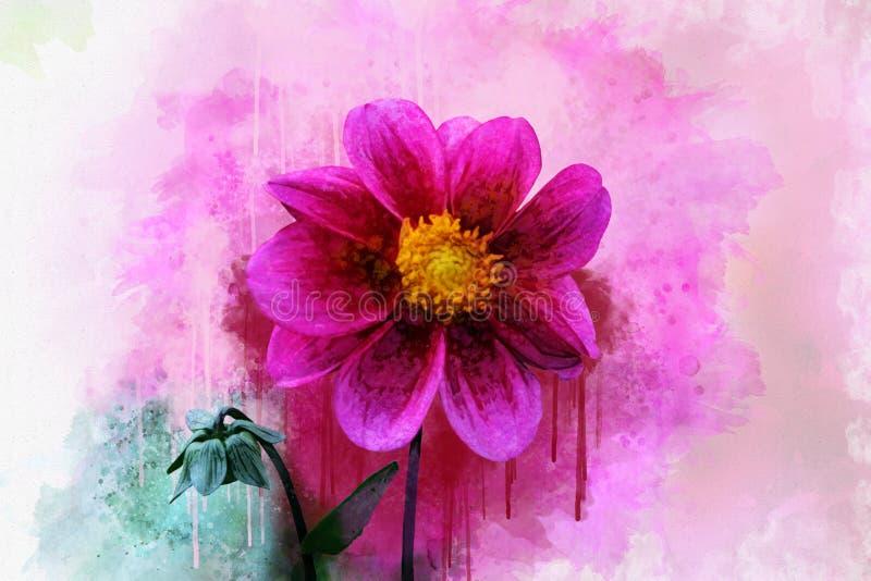 Το Anemone ανθίζει: Άγριο λουλούδι ύφους Watercolor για το υπόβαθρο, τη σύσταση, το σχέδιο περιτυλιγμάτων, το πλαίσιο ή τα σύνορα απεικόνιση αποθεμάτων