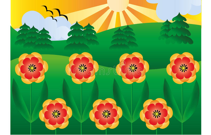 Anemones στον ήλιο διανυσματική απεικόνιση