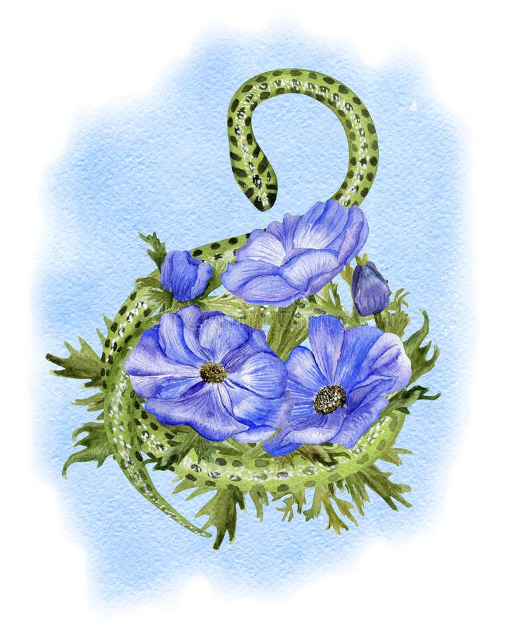 Anemones and snake on blue stock illustration