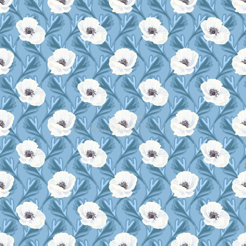 Anemoni bianchi sul modello senza cuciture blu illustrazione di stock