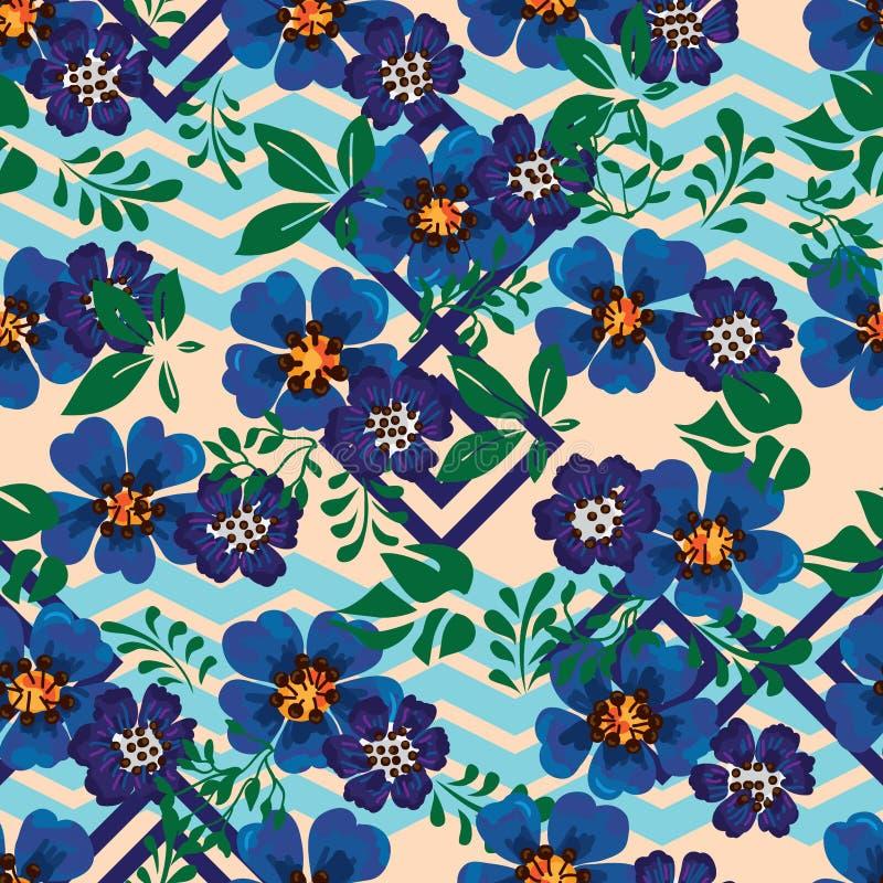 Anemonowego błękitnego kwiatu diamentowego szewronu bezszwowy wzór royalty ilustracja