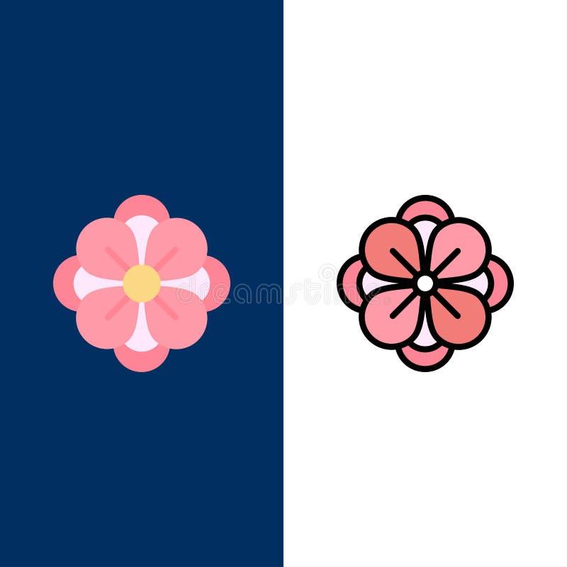 Anemoon, Anemone Flower, Bloem, de Pictogrammen van de de Lentebloem Vlak en Lijn vulde Pictogram Vastgestelde Vector Blauwe Acht vector illustratie