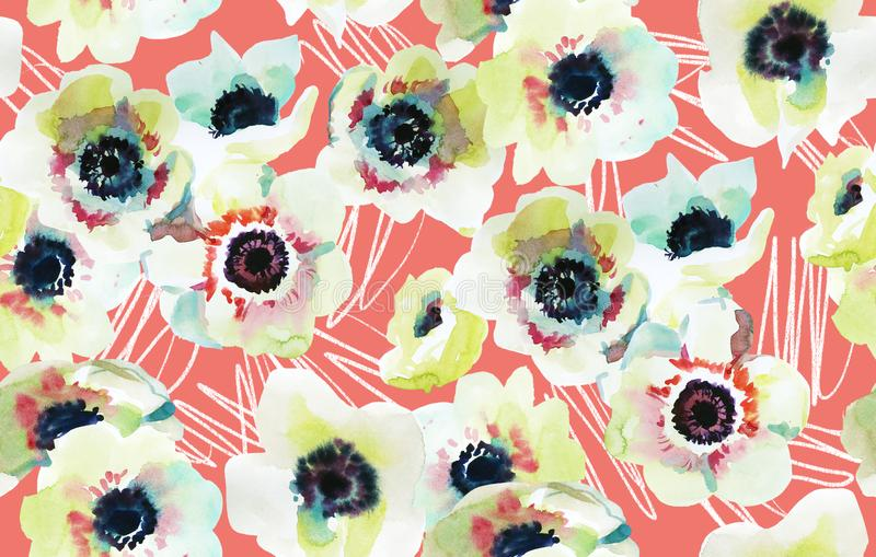 anemoonbloemen op een het leven achtergrond van de koraalkleur royalty-vrije illustratie