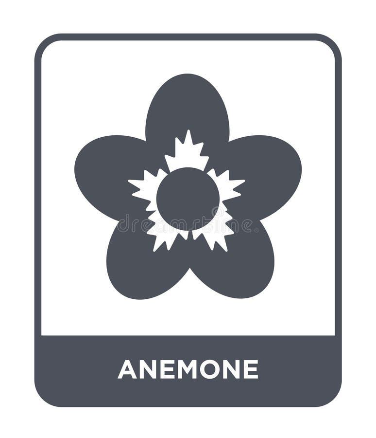 anemoonpictogram in in ontwerpstijl anemoonpictogram op witte achtergrond wordt geïsoleerd die eenvoudige en moderne vlakke symbo stock illustratie